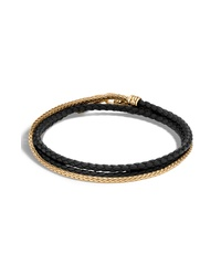 John Hardy Gold Chain Braided Leather Triple Row Bracelet