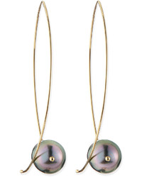 14k gold black tahitian pearl earrings medium 127445