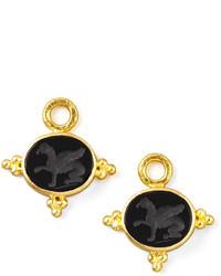 Elizabeth Locke 19k Gold Grifo Venetian Glass Earring Pendants Black