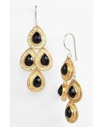 Anna Beck Gili Teardrop Chandelier Earrings Gold Black