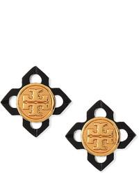 Tory Burch Babylon Resin Logo Stud Earrings