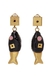 Marni Black And Gold Fish Earrings