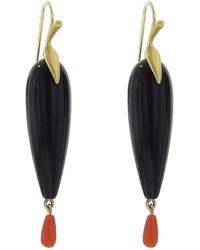 Annette Ferdinandsen Black Onyx Raven Earrings Yellow Gold