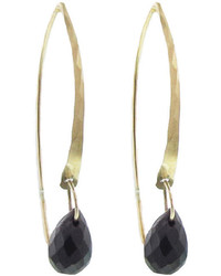 Melissa Joy Manning Black Onyx Wishbone Earrings Yellow Gold