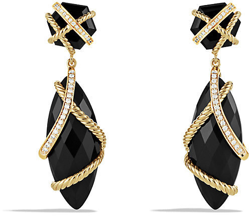 David Yurman Cable Wrap Double Drop Earrings With Cinnamon Citrine Champagne And Diamonds In Gold
