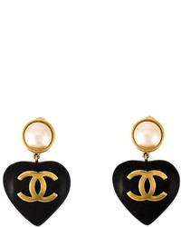 Chanel Vintage Heart Shaped Clip On Earrings