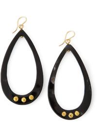 Ashley Pittman Chozi Horn Teardrop Earrings Dark Horn
