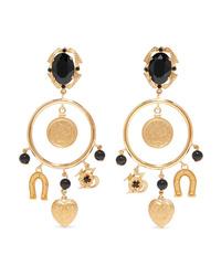 Dolce & Gabbana Gold Tone Crystal Clip Earrings