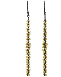 Ten Thousand Things Long Gold Bead Earrings On Oxidized Sterling Silver