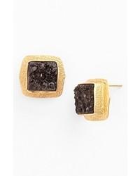 Melinda Maria Maia Semiprecious Stone Stud Earrings Gold Black