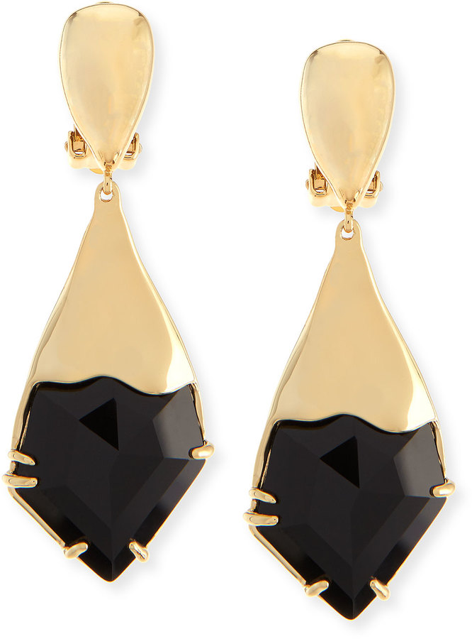 Alexis Bittar Miss Havisham Fancy Kite Clip On Earrings Black