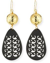 Nest Jewelry Carved Black Horn Teardrop Earrings