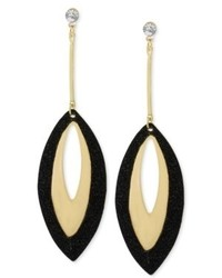 Steve Madden Gold Tone Black Glitter Drop Earrings