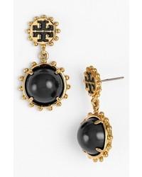 Tory Burch Winslow Logo Drop Earrings Black Shiny Gold