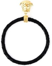 Versace Braided Leather Hoop Earrings