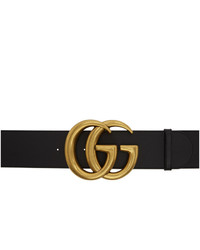 Gucci Black Leather Gg Wide Belt