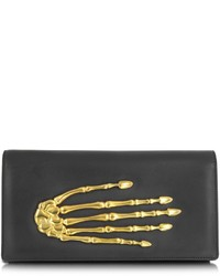 Bernard delettrez black nappa leather pochette wskeleton hand medium 150733