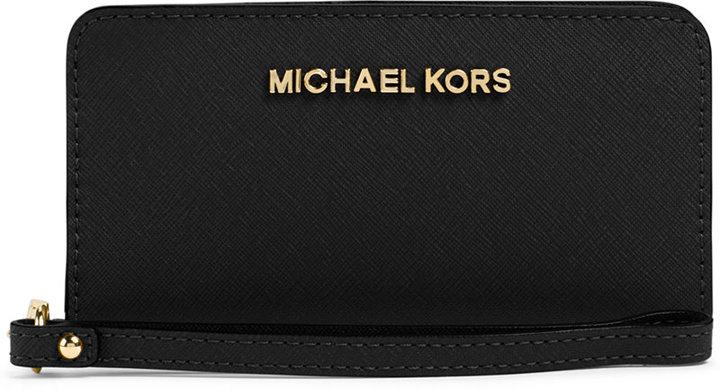 aae6ddb422a0 ... Black and Gold Embellished Leather Clutches MICHAEL Michael Kors Michl  Michl Kors Jet Set Travel Slim Wristlet ...