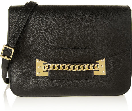 Sophie Hulme Envelope Chain Trimmed Textured Leather Shoulder Bag ...