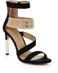 Black and Gold Embellished Satin Heeled Sandals