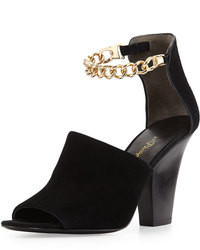 Berlin ankle chain suede sandal black medium 71451