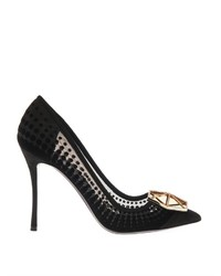 Nicholas Kirkwood Eden Black Flocked Mesh And Jewel Pumps
