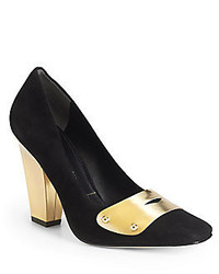 Sigerson Morrison Gold Forrest Suede Leather Pumps