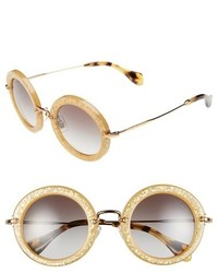 Miu Miu 49mm Round Glitter Sunglasses