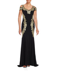 Black and Gold Embroidered Evening Dress