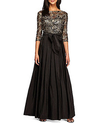 Alex Evenings 34 Sleeve Embroidered Sequin A Line Ballgown
