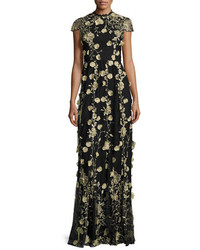 Alice + Olivia Cap Sleeve Floral Embroidered Gown Blackgold