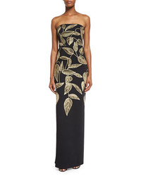 Lela Rose Leaf Embroidered Strapless Column Gown Blackgold