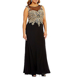 Cachet Plus Illusion Neck Metallic Embroidered Matte Jersey Gown