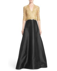 Reem acra two tone lace twill a line gown medium 1041483
