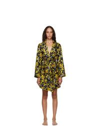 Versace Underwear Black And Gold Silk Barocco Gown