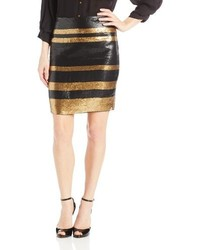 Adrianna Papell Stripe Sequin Pencil Skirt