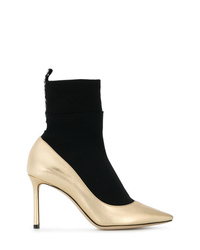 Black and Gold Leather Ankle Boots