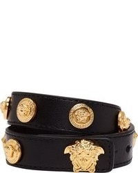 Black leather double wrap gold medusa stud bracelet medium 108820