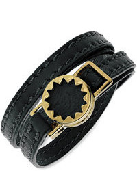 House Of Harlow Bracelet Gold Tone Sunburst And Black Leather Wrap Bracelet