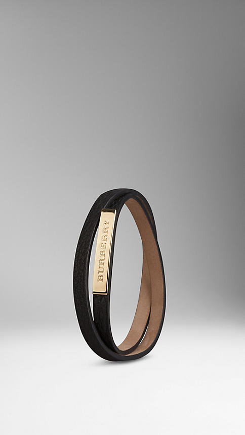155 Burberry Grainy Leather Wraparound Bracelet