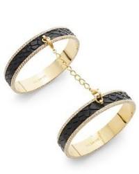 CC Skye Eternity Pav Leather Double Bangle Bracelet
