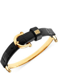 Tommy Hilfiger Gold Tone Black Croc Embossed Leather Buckle Bracelet