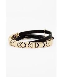 House of Harlow 1960 Chevron Station Leather Wrap Bracelet Black Gold