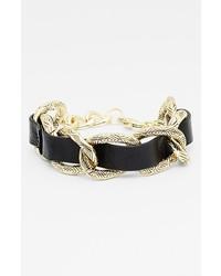 House of Harlow 1960 Link Leather Bracelet Black Gold