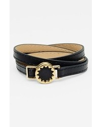 House of Harlow 1960 Sunburst Leather Wrap Bracelet Black Gold