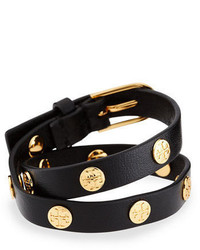 Leather logo stud double wrap bracelet medium 664717