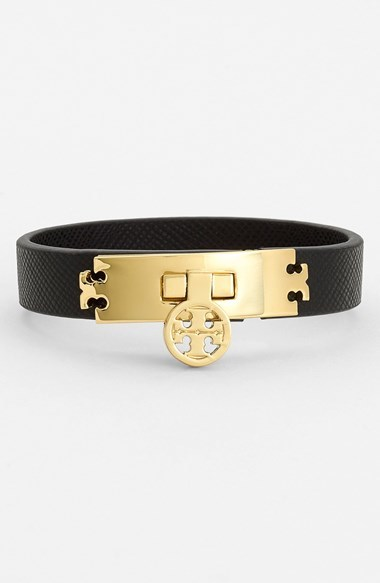 Tory Burch Logo Turnlock Leather Bracelet