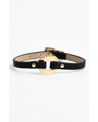 Marc by Marc Jacobs Link Station Leather Bracelet Black Gold