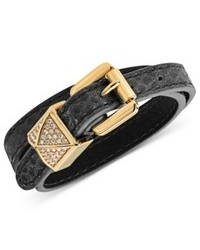 Michael Kors Michl Kors Gold Tone Pave Pyramid Stud Black Leather Double Wrap Bracelet