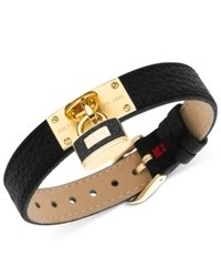 Tommy Hilfiger Gold Tone Lock Charm Black Leather Buckle Bracelet